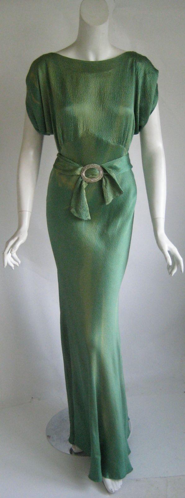 vintage 1930s art deco numbered screen star bias cut silk goddess evening gown(150)
