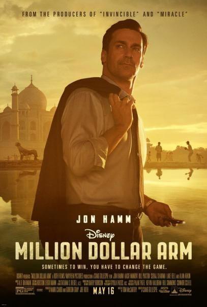 Dollar Arm (2014) A sports agent stages an unconventional recruitment strategy to get talented Indian cricket players to play Major League Baseball. Jon Hamm, Aasif Mandvi, Alan Arkin...TS bio