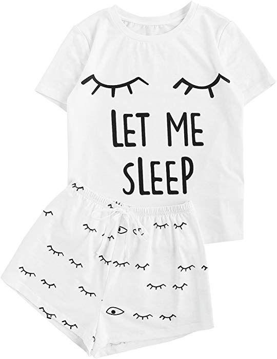 f62b3a757335 WDIRA Women s Sleepwear Closed Eyes Print Tee and Shorts Pajama Set White XS  at Amazon Women s Clothing store