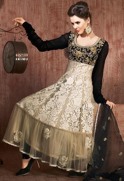 $92.59 Brown Full Sleeve Net Long Anarkali Salwar Kameez 21669
