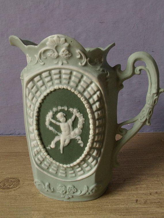 Antique German porcelain creamer and sugar bowl set, green jasperware, Wedgwood style bisque porcelain, angels cherubs, antique porcelain
