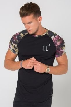 11 Degrees - Dark Floral Curved Raglan T-Shirt - Black | Looking for a fresh new twist on the traditional raglan tee? Look no further than this new style from 11 Degrees! Now available @ Urban Celebrity!