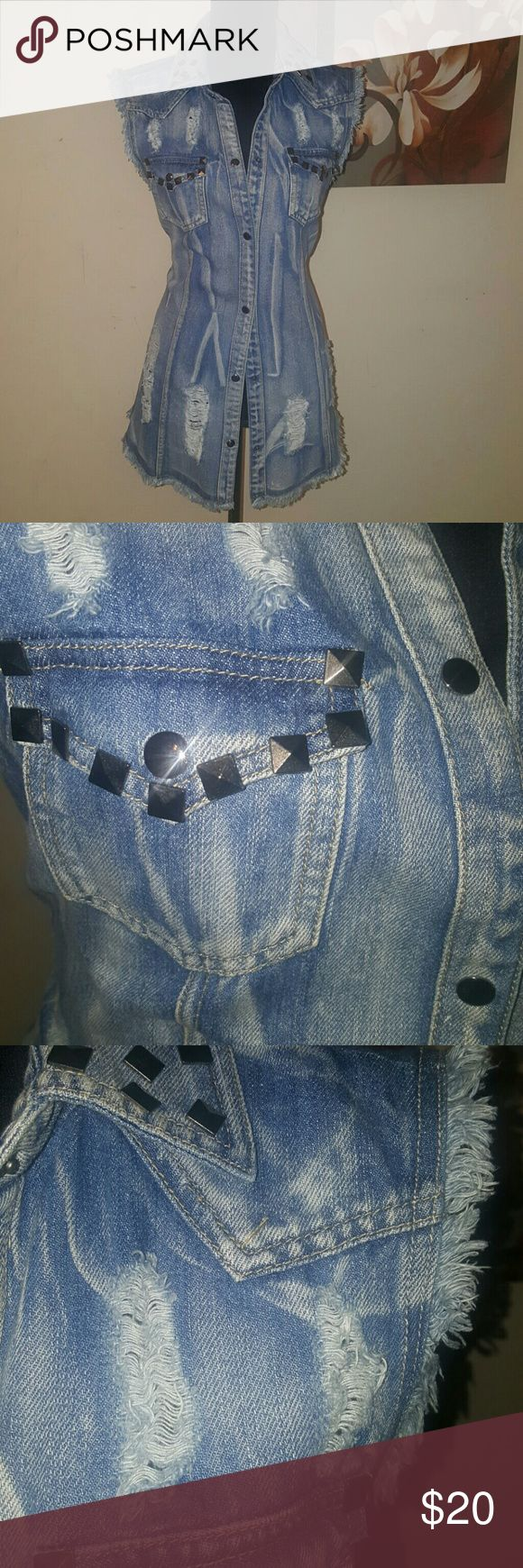 Jean Top Distressed and embellished with studs...great alone or with leggings!!  A MUST HAVE! Tops