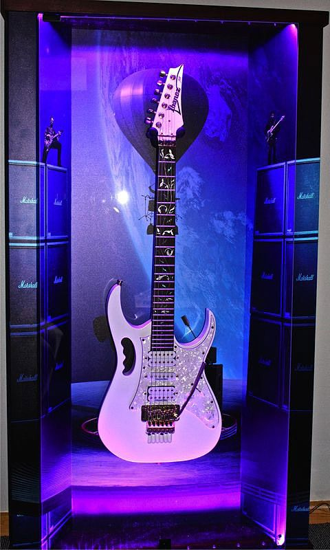 "ZAAX wall guitar display ""Concert For The Aliens"" and Ibanez Jam"