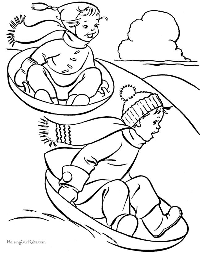 Sledding fun - Free kids printable Christmas coloring pages!
