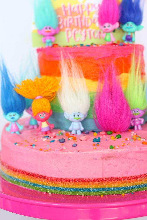 troll birthday party rainbow cake image 1
