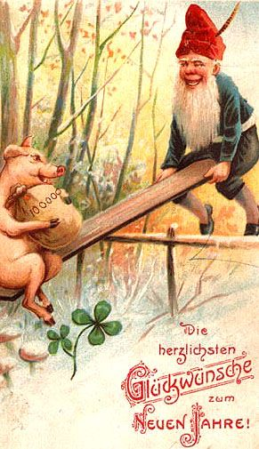 "A ""Happy New Year "" German postcard....""Neujahr"", a gnome with a Pig,a good luck symbol."