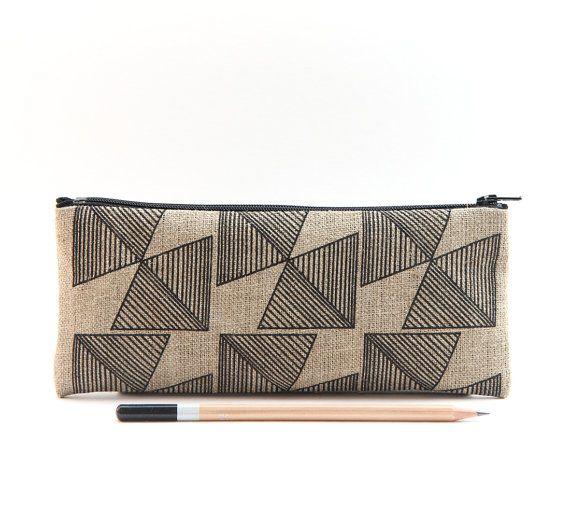 Geometry Black Pencil Case Tribal Linen by janehaydendesigns
