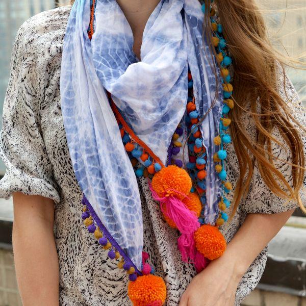pom pom scarf, summer scarf
