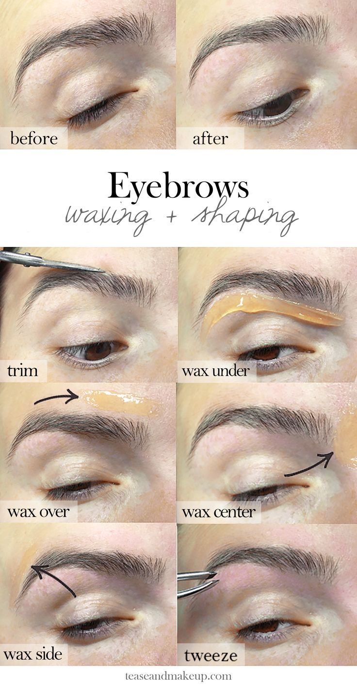 Eyebrow Waxing -Eyebrows 101 waxing   shaping Wax your own eyebrows at home. Step-by-step tutorial with pictures! Follow the images from left to right starting from the top down.