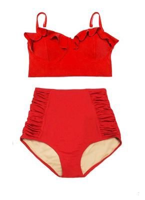 Red Midkini Midkinis Top and Ruched High Waisted waist Bottom Shorts Retro Vintage Swimsuit Bikini set Bathing suit Swim wear suits S M L XL by venderstore on Etsy