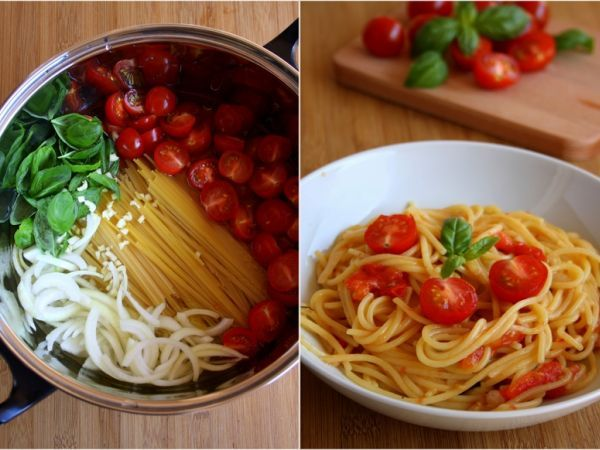 One pot pasta aux tomates cerises et basilic