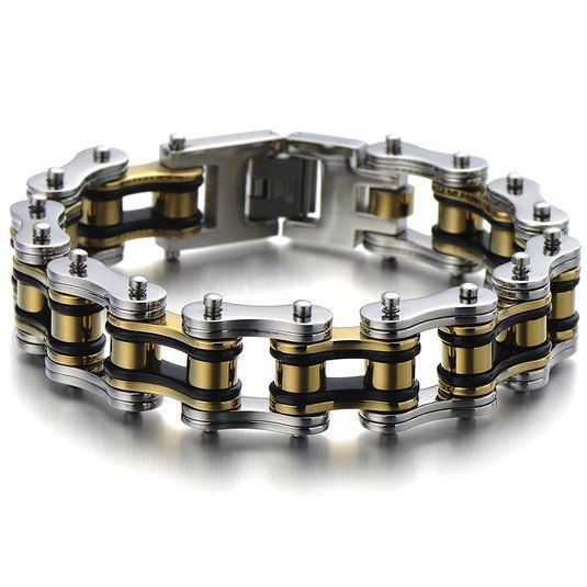 Find More Chain & Link Bracelets Information about Heavy and Study Mens Fancy Bike Chain Bracelet Stainless Steel Silver Gold Black Tri tone High Polished,High Quality bracelet clasp,China bracelet led Suppliers, Cheap steel mail from Fashion ---stainless steel on Aliexpress.com