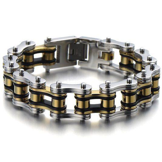 Pesado e estudo Mens fantasia da bicicleta cadeia pulseira de aço inoxidável prata ouro preto Tri - tons de alta polido