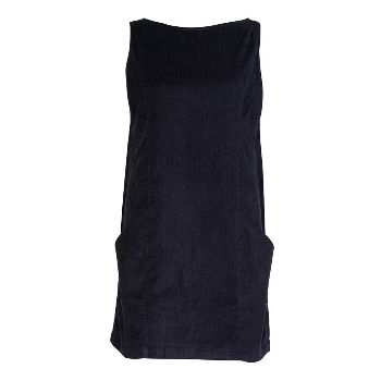Bibico Navy Cord Pinafore Dress: The Olivia pinafore dress is back by popular demand.   -Made of soft navy cord fabric  -Short dress -Can be worn either as a dress or a tunic