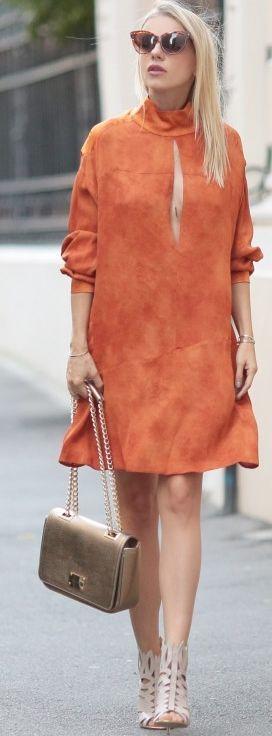 Catalina Grama Orange Suede Dress Fall Inspo