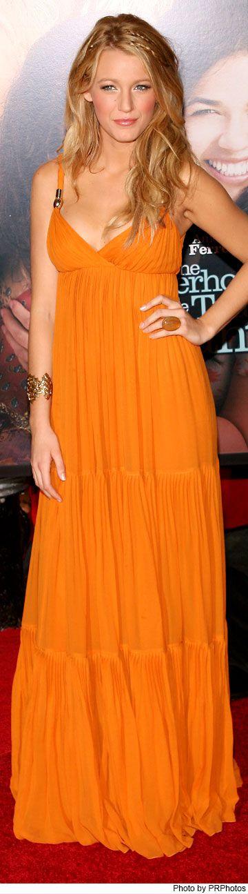 "Blake Lively Wearing Gucci Orange Maxi Dress - ""The Sisterhood of the Traveling Pants 2"" Premiere - July 28, 2008"