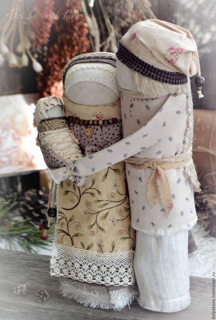 """Купить кукла-оберег Семейная пара """"Тихое счастье"""". - бежевый, красный, народная кукла"""