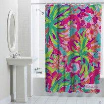 Lily Pulitzer Flamingo Pattern Custom Shower Curtain