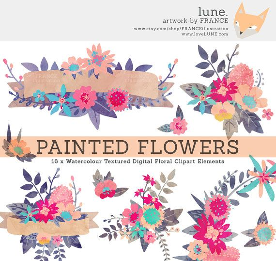 Watercolor Flower Clipart Wreaths Banners by FRANCEillustration, $6.00
