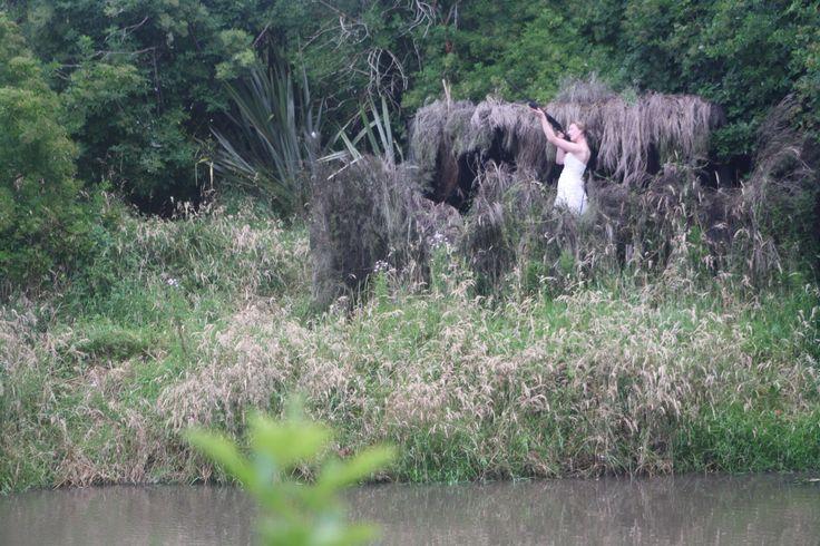 Duck shooting! Trash my wedding dress