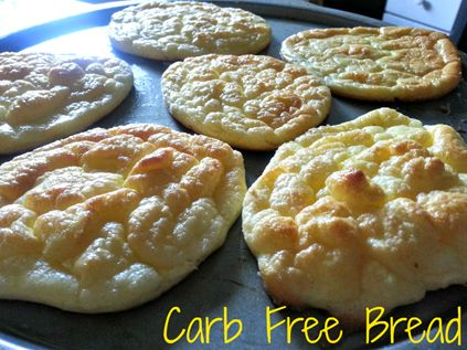 Carb Free Bread - eggs, cream cheese, cream of tartar Whip together in one bowl on high 3 egg yoke 3 TBS cream cheese In another bowl 3 egg whites ¼ tsp cream of tarter whip until there are stiff peeks Fold in egg yoke into whites Spoon on a baking sheet ¾ inch high The size of a hamburger bun Bake 350 for 15- 30 or 7 mins