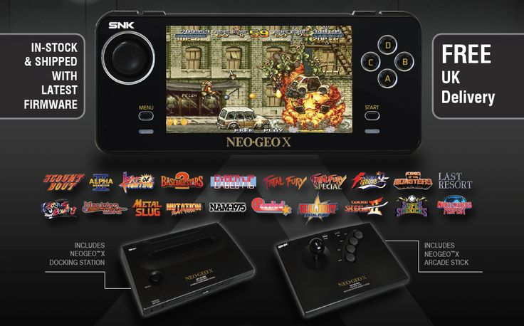"""The Neo Geo X is a games console featuring 20 in-built classic Neo Geo games and an LCD-screen controller for gaming either on the big screen - or on the move! The base pack includes everything you need for some great multiplayer gaming with classics such as Metal Slug, Fatal Fury, and Super Sidekicks. The optional Megapack includes an additional 15 games!  http://www.funstock.co.uk/neogeo-x-with-mega-pack  Use code """"PINFUN"""" for 5% off!  #retrogaming #neogeo #metalslug #giftideas"""