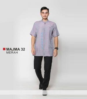 Baju Kemeja Pria Koko Majma 32 Merah - Ramadhan Sale