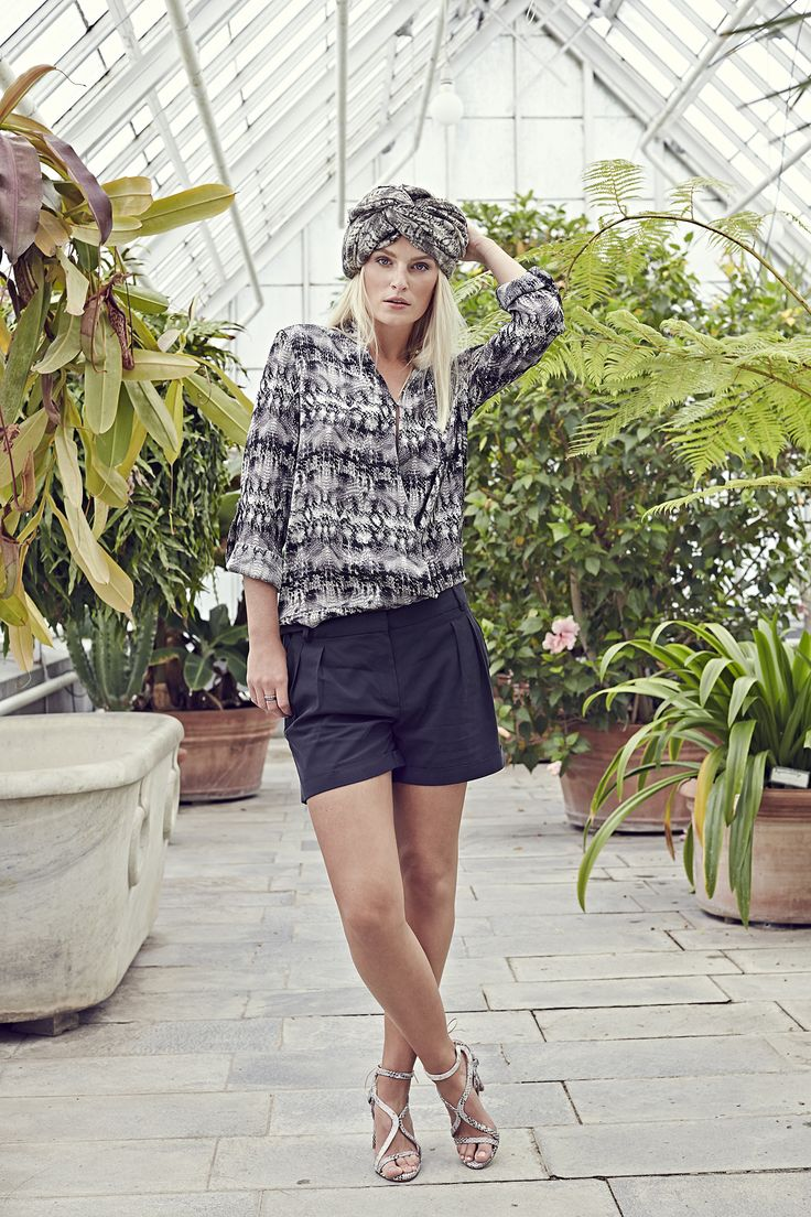 Lizzie tunic - Snake with Alison shorts - Black and Nolita scarf - Snake