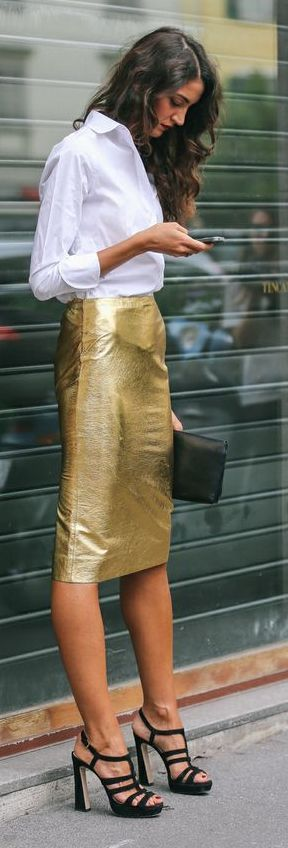 Gold High WAisted Pencil Skirt by The Simply Luxurious Life