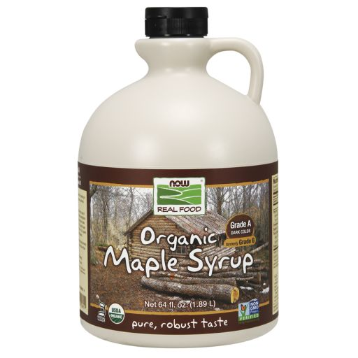 WhatSugar: NOW Real Food® Maple Syrup, Organic Grade A Dark Color (formerly Grade B). (64 oz). Robust Taste. Contains 66% sugars. Provides 50 kcal/ 1 Tbsp (15 mL) or 17Kcal/ 1 tsp (5mL). Nutrition = 16g sugars/ 1 tablespoon (15mL or 20g) or 5g sugars/ 1 teaspoon (5mL or 7g). Non-GMO Project Verified. Certified Organic by QAI. Certified Kosher Parve by Kof-K. Vegan. Has a deeper, richer flavor than Grade A light syrups. Distrib. by NOW Real Food®, Bloomingdale, IL