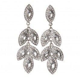 Stunning vintage inspired diamante chandelier long drop stud earrings.