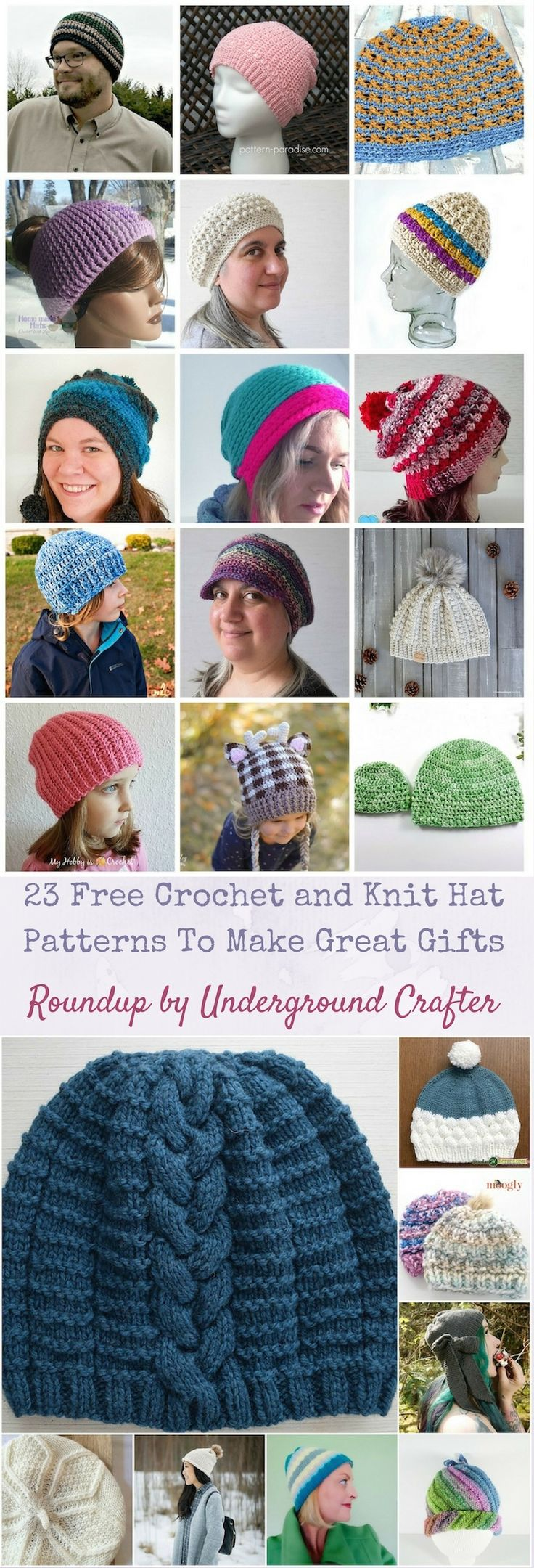 Roundup: 23 Free Crochet and Knit Hat Patterns To Make Great Gifts via Underground Crafter | Find your next project in this roundup featuring berets, slouchy hats, beanies, earflap hats, and more! #crochet #knitting