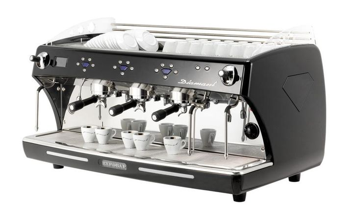 The Diamant 3 Group Multi Boiler is an automatic espresso coffee machine with 3 groups, electronic switchboard to control the coffee dosages volumetrically and automatic water filling. It boasts individual boilers at 1.5 litres with 1200 W elements, for each brewing group and a 99.9% copper boiler with 17.5 litres capacity and a 4000 W element.