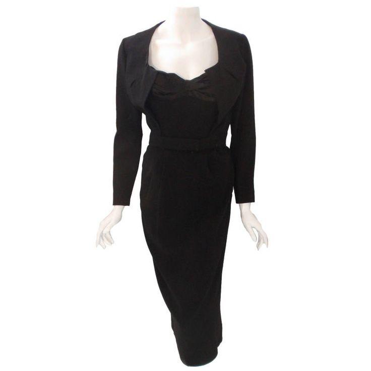 Jacques Fath 2pc Black Crepe Dress and Jacket Set, 1950 1