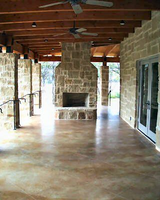 stained concrete- back patio idea. This could use an outdoor #Capel rug