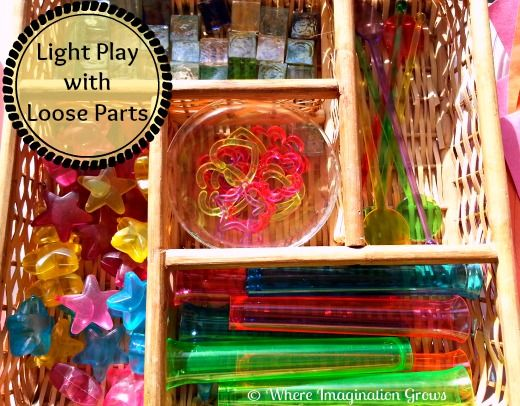 Free play activities on the light table using loose parts for toddlers and preschoolers.
