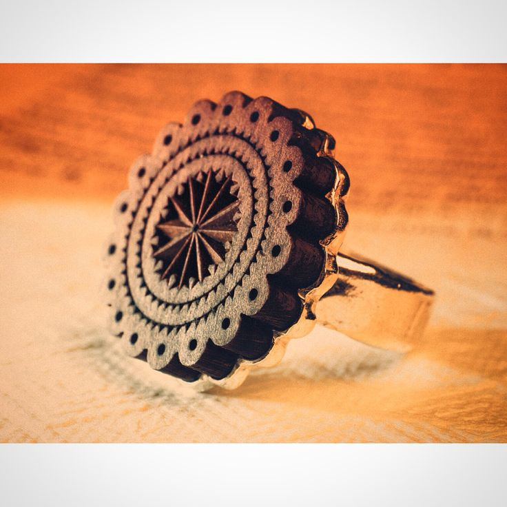 Wood and Silver Ring. Contemporary Jewelry, Ancestral Symbols, Traditional inspiration.