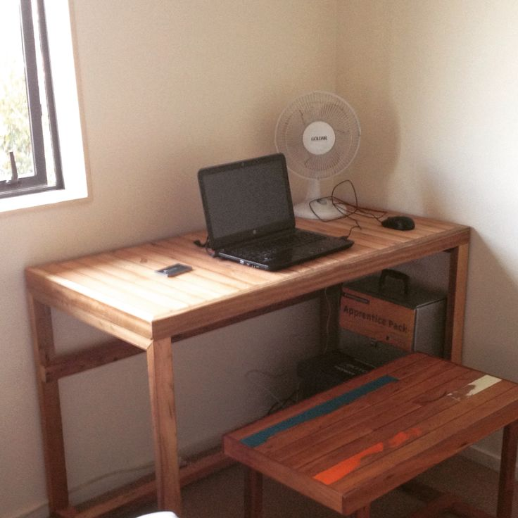 Office desk made out of recycled timber as always.