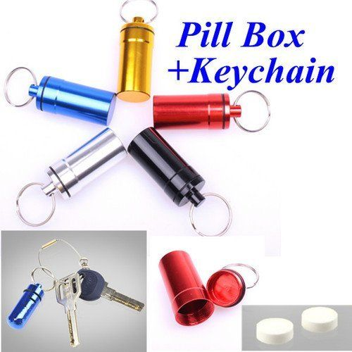 Cylinder Mini Aluminum Pill Case Box Bottle Holder Container with Keychain by new brand. $0.99. 100% brand new and high quality   Never let yourself or your beloved one find themselves without their medication when they need them  This little, cute and stylish pill holder can help you solve this problem  You can take this little pill holder wherever you go and whatever you do  Feature:  It can be clipped easily to key chains, handbags, golf bags, belt loops or ...