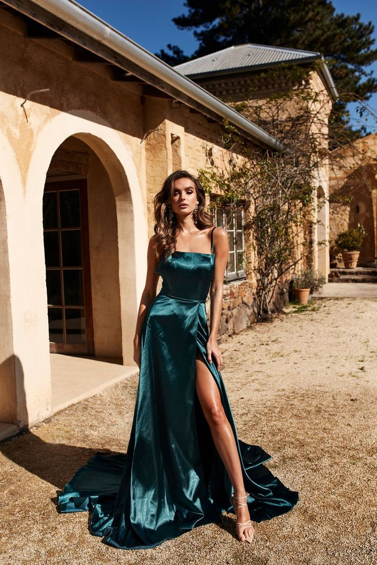 A & N Luxus Bianca Satin Kleid – Teal