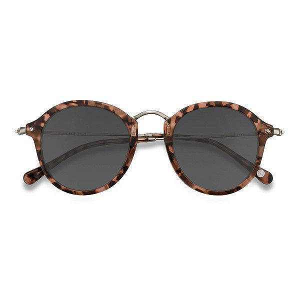 Women's Atmos - Brown Floral round metal - 19377 Rx Sunglasses ($52) ❤ liked on Polyvore featuring accessories, eyewear, sunglasses, round sunnies, brown sunglasses, round sunglasses, round metal glasses and rounded sunglasses