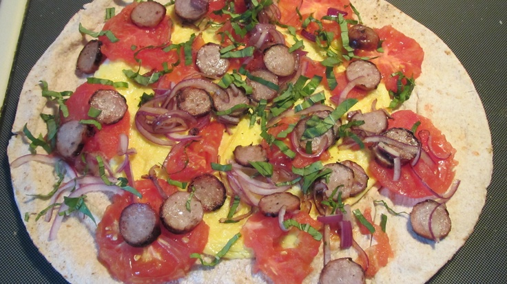 Healthy Breakfast Pita Pizza..... I toasted a large pita under the ...