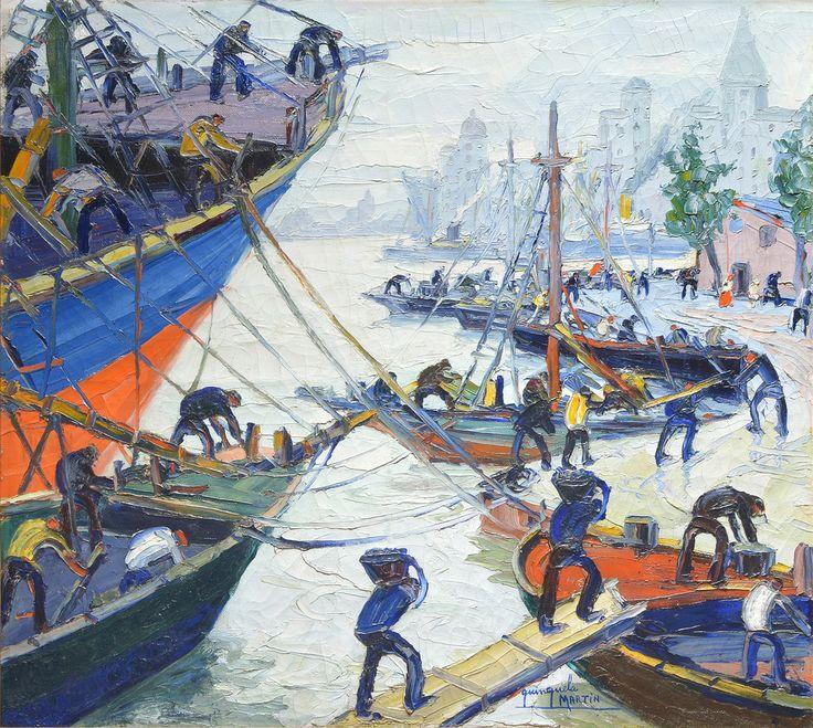 """QUINQUELA MARTIN, Benito Argentino 1890-1977 """"DIA GRIS"""" Pintura al óleo sobre tela. Firmada QUINQUELA MARTIN abajo a la derecha. Titulada, firmada y fechada """"31"""" en el reverso. Medidas: 80 x 90 cm Ref. Reproducido en página 106 con el número 3105 en el libro """"QUINQUELA"""" de Rafael Squirru e Ignacio Gutiérrez Zaldívar."""
