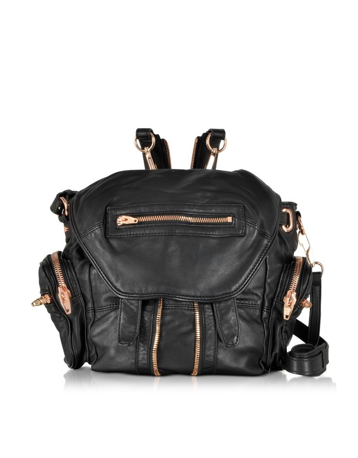 Alexander Wang Mini Marti Black Washed Leather Backpack at FORZIERI