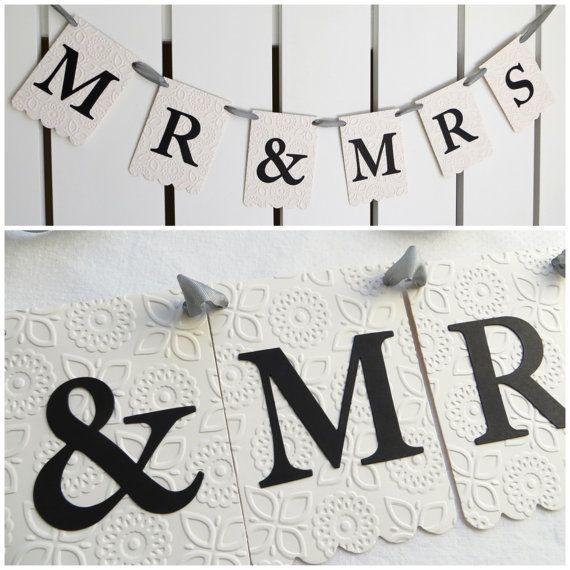 mr mrs wedding banner embossed modern by