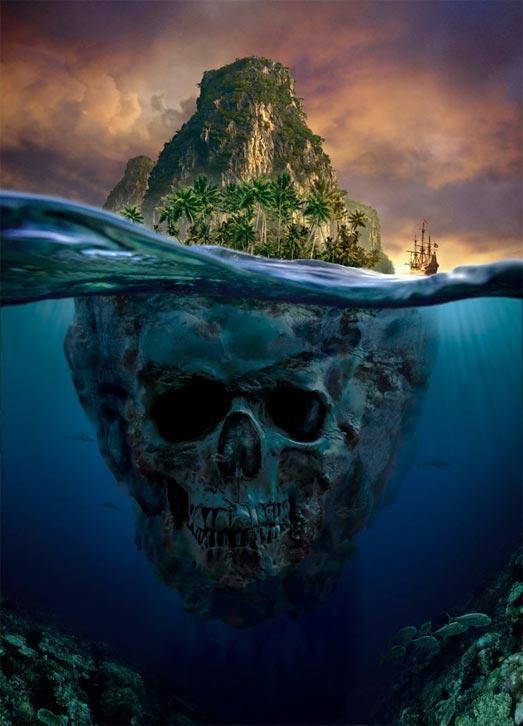 Skull mountain underwater