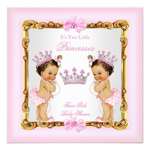 Shop Twin Girls Princess Baby Shower Gold Pink Brunette Card Created By  VintageBabyShop.