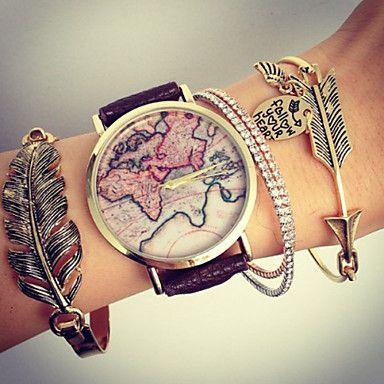 unisex wereldkaart stijl horloge / vintage wereldkaart / antiek wereldkaart / dames horloge / vrouwen premium kunstleer polshorloge 2016 – €6.85
