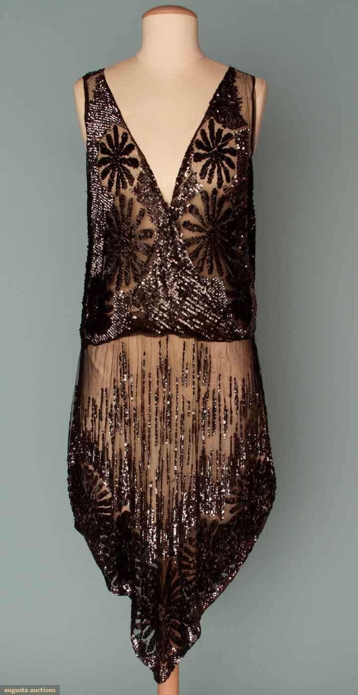SEQUIN & BEADED FLAPPER DRESS, 1920s Black silk net, large black bugle bead flower blossoms, gunmetal sequins cover bodice & dance skirt, deep V F & B, skirt center point hem. Back